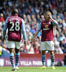 Aston Villa's Andreas Weimann cuts a frustrated figure - Photo mandatory by-line: Joe Meredith/JMP - Mobile: 07966 386802 23/08/2014 - SPORT - FOOTBALL - Birmingham - Villa Park - Aston Villa v Newcastle United - Barclays Premier League