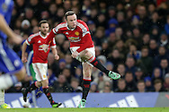 Wayne Rooney, the Manchester United captain takes a shot at goal.Barclays Premier league match, Chelsea v Manchester Utd at Stamford Bridge in London on Sunday 7th February 2016.<br /> pic by John Patrick Fletcher, Andrew Orchard sports photography.