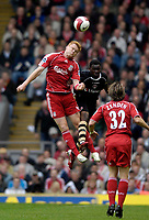 Photo: Jed Wee/Sportsbeat Images.<br /> Liverpool v Charlton Athletic. The Barclays Premiership. 13/05/2007.<br /> <br /> Liverpool's John Arne Riise (L) wins a header in the air.