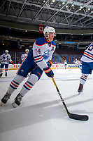 PENTICTON, CANADA - SEPTEMBER 9: Ethan Bear #74 of Edmonton Oilers warms up with the puck against the Winnipeg Jets on September 9, 2017 at the South Okanagan Event Centre in Penticton, British Columbia, Canada.  (Photo by Marissa Baecker/Shoot the Breeze)  *** Local Caption ***