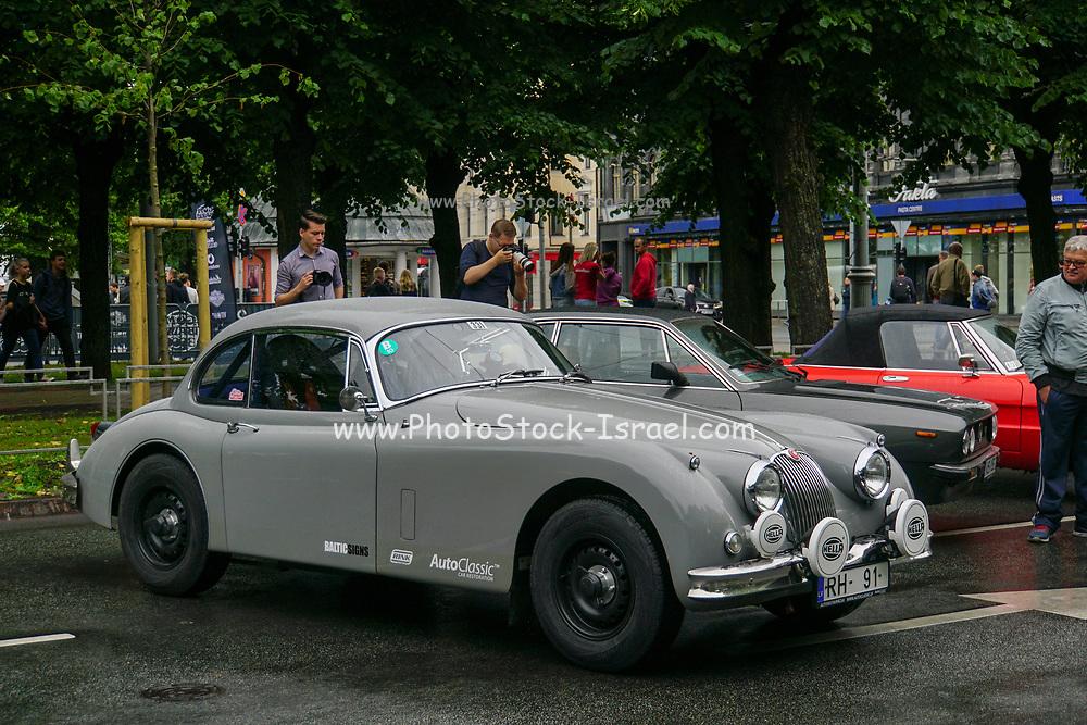 Jaguar XK Classic car on display at the start of the Riga to Mykonos Gumball 3000 Rally, Riga, Latvia