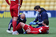 Aberdeen's Fraser Hornby (7) receives treatment during the Scottish Premiership match between Livingston and Aberdeen at Tony Macaroni Arena, Livingstone, Scotland on 1 May 2021.