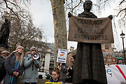 Womens rights protesters gathered beside the statue of Dame Millicent Fawcett, the suffragist leader and social campaigner in Parliament Square in protest and support of a 19-year-old British woman who has been convicted of falsely claiming that she was raped in a hotel in Ayia Napa by 12 Israeli men in the summer of 2019, on 6th January 2020 in London, England, United Kingdom. The case has caused outrage in the U.K. with #IBelieveHer and #BoycottCyprus being used on social media. She is due to be sentenced on 7th January.