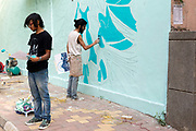 Artist Tanmay working on his first design on a wall in the Lodhi Colony area of New Delhi designated Indias first ever public art district.