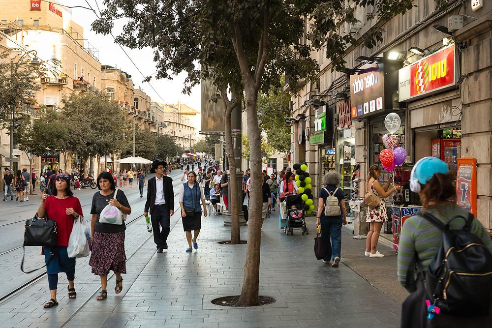 People are seen on Jaffa (Yaffo) Street in Jerusalem, Israel, on October 1, 2017.