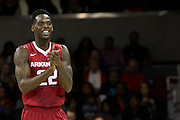 DALLAS, TX - NOVEMBER 25: Jacorey Williams #22 of the Arkansas Razorbacks celebrates after an SMU Mustangs turnover on November 25, 2014 at Moody Coliseum in Dallas, Texas.  (Photo by Cooper Neill/Getty Images) *** Local Caption *** Jacorey Williams