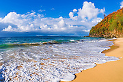 Sand and surf at Hanakapi'ai Beach along the Kalalau Trail, Na Pali Coast, Island of Kauai, Hawaii
