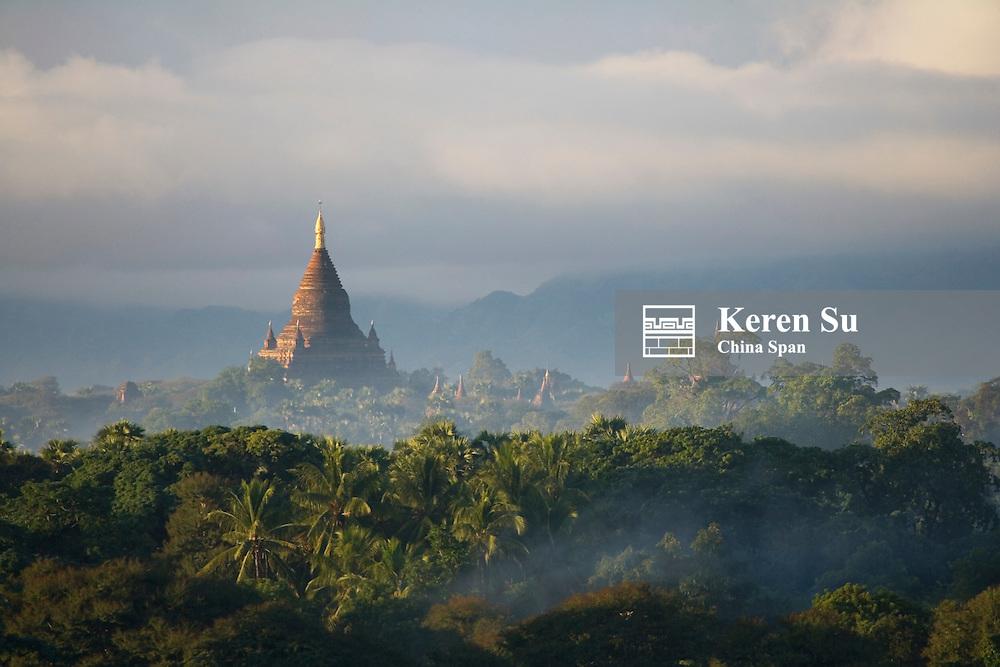 Temples in morning mist, Bagan, Myanmar