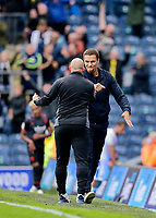 Football - 2021 / 2022 EFL Sky Bet Championship - Blackburn Rovers versus West Bromwich Albion - Ewood Park - Saturday 21st August 2021<br /> <br /> West Bromwich Albion manager Valerian Ismael and his assistant Adam Murray pump fists at the end of the game, at Ewood Park.<br /> <br /> COLORSPORT/Alan Martin