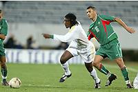 Fotball<br /> African Nations Cup 2004<br /> Afrika Mesterskapet<br /> Foto: Digitalsport<br /> Norway Only<br /> <br /> FIRST ROUND - GROUP D - 040204<br /> MOROCCO v SOUTH AFRICA<br /> MAROKKO v SØR AFRIKA<br /> <br /> THABANG MOLEFE (RSA) / YOUSSEF MOKHTARI (MOR)