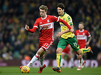 Middlesbrough's Patrick Bamford with Norwich's Timm Klose closing to tackle<br /> <br /> Photographer Jon Hobley/CameraSport<br /> <br /> The EFL Sky Bet Championship - Norwich City v Middlesbrough - Saturday 3rd February 2018 - Carrow Road - Norwich<br /> <br /> World Copyright © 2018 CameraSport. All rights reserved. 43 Linden Ave. Countesthorpe. Leicester. England. LE8 5PG - Tel: +44 (0) 116 277 4147 - admin@camerasport.com - www.camerasport.comMiddlesbrough's Patrick Bamford, Timm Klose <br /> <br /> Photographer Jon Hobley/CameraSport<br /> <br /> The EFL Sky Bet Championship - Norwich City v Middlesbrough - Saturday 3rd February 2018 - Carrow Road - Norwich<br /> <br /> World Copyright © 2018 CameraSport. All rights reserved. 43 Linden Ave. Countesthorpe. Leicester. England. LE8 5PG - Tel: +44 (0) 116 277 4147 - admin@camerasport.com - www.camerasport.com