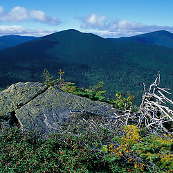The view towards Spaulding Mountain, Sugarloaf Mountain and the Appalachian Trail from Mt. Abraham.  Recently protected as part of AT corridor. Kingfield, ME.