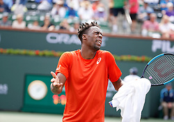 March 9, 2019 - Indian Wells, CA, U.S. - INDIAN WELLS, CA - MARCH 09: Gael Monflis (FRA) reacts after a call during the second round of the BNP Paribas Open on March 09, 2019, at the Indian Wells Tennis Gardens in Indian Wells, CA. (Photo by Adam Davis/Icon Sportswire) (Credit Image: © Adam Davis/Icon SMI via ZUMA Press)