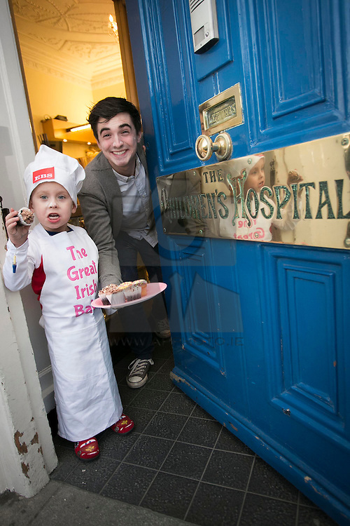 Repro Free: 20/02/2013 Temple Street patient Dylan Doyle, age 4 from Ballymun, Dublin pictured with kitchen hero and home cook Donal Skehan. The children are helping to launch the Great Irish Bake, proudly supported by EBS. This important fundraising driving is calling all baking enthusiasts across the nation to dust off their cake tins and hold a bake sale at home, in school or at work and help raise funds for Temple Street. Picture Andres Poveda