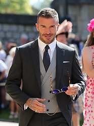 David Beckham arrives at St George's Chapel at Windsor Castle for the wedding of Meghan Markle and Prince Harry.