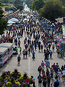 """14 AUGUST 2019 - DES MOINES, IOWA: The """"Grand Concourse,"""" which is the main entry way at the Iowa State Fair. The Iowa State Fair is one of the largest state fairs in the U.S. More than one million people usually visit the fair during its ten day run. The 2019 fair run from August 8 to 18.                PHOTO BY JACK KURTZ"""