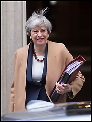 April 26, 2017 - London, London, United Kingdom - Image ©Licensed to i-Images Picture Agency. 26/04/2017. London, United Kingdom. ..The Prime Minster of the UK, Theresa May, leaves 10 Downing Street for the last PMQ's before the general election in London, UK...Picture by Ben Stevens / i-Images (Credit Image: © Ben Stevens/i-Images via ZUMA Press)