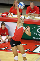 11 September 2007:  Briana McCarthy takes an outside hit. Ohio State Buckeyes bested the Illinois State Redbirds 3 games to 1 at Redbird Arena on the campus of Illinois State University in Normal Illinois.