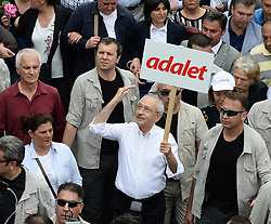 """June 15, 2017 - Ankara, Turkey - Main opposition Republican People's Party (CHP) leader Kemal Kilicdaroglu (C) said """"enough is enough"""" as he began a march from Ankara to Istanbul in protest at the detention of CHP lawmaker Enis BerberoÄŸlu, on June 15, in Ankara arrival. (Credit Image: © Depo Photos via ZUMA Wire)"""