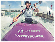 British and Olympic slalom canoeist Kimberly Woods at Lee Valley White Water Centre.