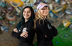 Mia Krampl and Janja Garnbret at press conference of Slovenian National Climbing team before new season, on March 23, 2021 in Bolder Scena, Ljubljana, Slovenia. Photo by Vid Ponikvar / Sportida