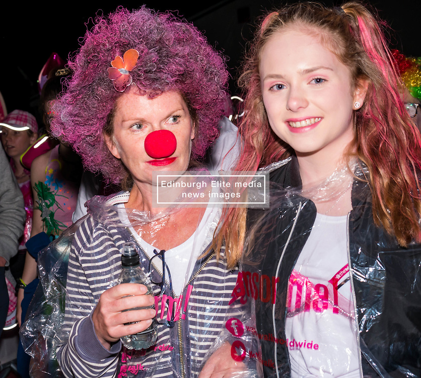 Pictured: Moonwalk Scotland, Edinburgh, Scotland, United Kingdom, 08 June 2019. The 14th Moonwalk Scotland 'Walk the Walk' night-time event with several thousand participants wearing specially decorated bras with a circus theme choose between New Moon (6.55 Miles), Half Moon Marathon (13.1 Miles), Full Moon Marathon (26.2 miles) and Over The Moon (52.4 Miles) to raise money  and awareness for breast cancer causes. Moonwalkers get ready to set off.<br /> <br /> Sally Anderson   EdinburghElitemedia.co.uk