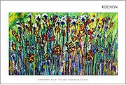 """'Hopes Garden' 28"""" x 49"""" . Acrylic & Ink on Canvas . 2017 . SOLD<br /> <br /> On a long, warm summer afternoon, lying on my back, in a field of wildflowers with my love Sandy, day dreaming, """"Hopes Garden"""" came to life.<br /> <br /> I experienced, looking deep withing in those lush deep grasses, multi layers of rich textured nature with all of it's glorious color, revealed all kinds of 'beasties' and WILD flowers, butterflies and flying 'whatevers,' crawly 'thingys' and whispy scented purple and brilliant blue spheres jetting thru the dense green canopy reaching, from my cool earthy vantage, into the bright sun. I was 8 years old and I was happy, again!<br /> <br /> I was lost in the awe of nature ... of the pure joy of 'BE-ing, reminded of when I was a boy, when time was cheap, something to squander, a time when lying in a field of flowers for hours just because the sun was warm on my skin and it felt 'good,' and there was time, and it was ok.<br /> <br /> 'HOPES GARDEN' is not a persons garden, it is a wish, a yearning, a hope for more awakenings. It seems so simple really - to just lie down, in a field of flowers on a warm day, yet it isn't, is it?<br /> <br /> But, as the title implies, 'Hopes Garden' - there is hope and it can be a simple 'intention,' a choice, on a warm day, with a field, and some wildflowers and a bit, just a little, tiny bit of time. And, there is HOPE, to be a a little boy or a little girl again, in spirit, any time we choose.<br /> <br /> This painting, is my offering into that spirit of eternal youth."""