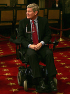 Senator Tim Johnson D-SD recovers after a stroke and brain operation. Seen at the mock swearing in ceremony for US Senators in the Old Senate Chambers in the US Capitol on January 6, 2009. Photograph by Dennis Brack
