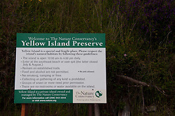 Yellow Island Preserve Sign, San Juan Islands, Washington, US