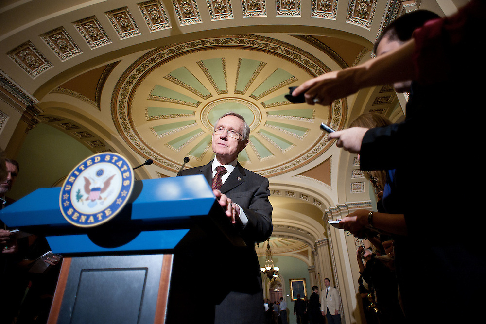 Senate Majority Leader Harry Reid (D-NV) speaks with reporters at a press conference outside the Senate floor on Tuesday, June 28, 2011 in Washington.  (Photo by Jay Westcott/Politico)