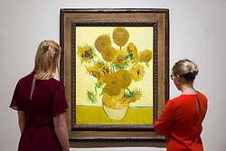 "© Licensed to London News Pictures. 25/03/2019. LONDON, UK. Visitors view ""Sunflowers"", 1888, by Vincent Van Gogh.  Preview of ""The EY: Van Gogh and Britain"" exhibition at Tate Britain, the first exhibition to look at the work of Vincent Van Gogh through his relationship with Britain and how he inspired British artists.  Over 50 of his works are on display 27 March to 11 August 2019.  Photo credit: Stephen Chung/LNP"