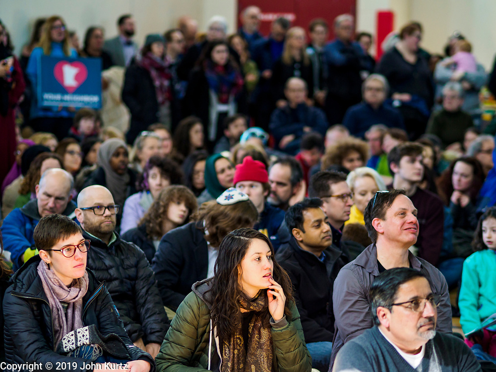 16 MARCH 2019 - BLOOMINGTON, MINNESOTA, USA: Part of the crowd at Dar al Farooq Center in Bloomington. An interdenominational crowd of about 1,000 people came to the center to protest white supremacy and religious intolerance and to support Muslims in New Zealand who were massacred by a white supremacist Friday. The Twin Cities has a large Muslim community following decades of Somali immigration to Minnesota. There are about 45,000 people of Somali descent in the Twin Cities.   PHOTO BY JACK KURTZ