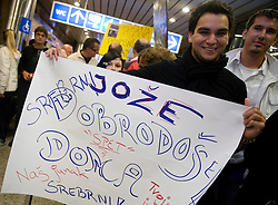 Fans of Joze Flere with silver paraolympic medal at welcome ceremony at Airport Joze Pucnik, on September 20, 2008, in Brnik, Slovenia. (Photo by Vid Ponikvar / Sportal Images)./ Sportida)