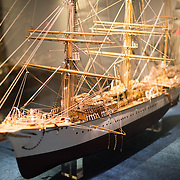 A 1:50 scale model of the Sagres, a 3227-ton training vessel in commission from 1924 to 1962. The Museu de Marinha (Maritime Museum of Navy Museum) focuses on Portuguese maritime history. It features exhibits on Portugal's Age of Discovery, the Portuguese Navy, commercial and recreational shipping, and, in a large annex, barges and seaplanes. Located in the Belem neighborhood of Lisbon, it occupies, in part, one wing of the Jerónimos Monastery. Its entrance is through a chapel that Henry the Navigator had built as the place where departing voyagers took mass before setting sail. The museum has occupied its present space since 1963.