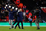 Tottenham parade their new signing Lucas Moira (L) to tonight's home crowd. Premier league match, Tottenham Hotspur v Manchester Utd at Wembley Stadium in London on Wednesday 31st January 2018.<br /> pic by Steffan Bowen, Andrew Orchard sports photography.