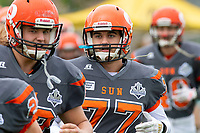 KELOWNA, BC - SEPTEMBER 22:  Josh Keen #77 of Okanagan Sun runs onto the field at the start of the game against the Valley Huskers at the Apple Bowl on September 22, 2019 in Kelowna, Canada. (Photo by Marissa Baecker/Shoot the Breeze)