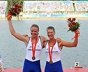 Shunyi, CHINA.   Bronze medalist, GBR W2X, right,  Elise LAVERICK and Anna BEBINGTON, at the 2008 Olympic Regatta, Shunyi Rowing Course.  Sat,.16.08.2008.  [Mandatory Credit: Peter SPURRIER, Intersport Images]