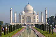 The Taj Mahal is an ivory-white marble mausoleum on the southern bank of the river Yamuna in the Indian city of Agra