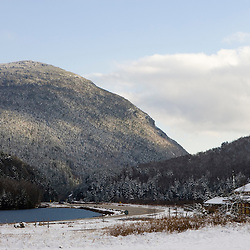 Saco Lake and Crawford's Depot at the head of Crawford Notch in New Hampshire's White Mountains.