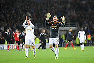 Angel Rangel of Swansea City in goalkeeper shirt claps the Swansea fans at the end of the game.<br /> Barclays Premier League match, Cardiff city v Swansea city at the Cardiff city stadium in Cardiff, South Wales on Sunday 3rd Nov 2013. pic by Phil Rees, Andrew Orchard sports photography,