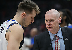 December 20, 2018 - Los Angeles, California, U.S - Luka Doncic #77 of the Dallas Mavericks listens to his coach, Rick Carlisle during their NBA game with the Los Angeles Clippers on Thursday December 20, 2018 at the Staples Center in Los Angeles, California. Clippers defeat Mavericks, 125-121. (Credit Image: © Prensa Internacional via ZUMA Wire)