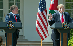 United States President Donald J. Trump and King Abdullah II of Jordan conduct a joint press conference in the Rose Garden of the White House in Washington, DC on Wednesday, April 5, 2017.<br /> Credit: Ron Sachs / CNP *** Please Use Credit from Credit Field ***
