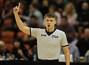 Match referee signals a free throw in the Sal's Pizza NBL Round 8 match, Hawkes Bay Hawks vs Auckland Rangers, Pettigrew Green Arena, Napier, Saturday, June 16, 2018. Copyright photo: Kerry Marshall / www.photosport.nz
