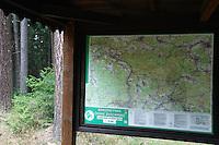 TOURISTIC MAP IN THE FOREST. <br /> BRTNICKY HRADEK. CESKE SVYCARSKO. CZECH REPUBLIC.