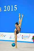 Filanovsky Victoria during qualifying at ball in Pesaro World Cup 10 April 2015.<br /> Victoria was born in St. Petersburg in Russia 23 February 1995. In 2008 she joined the Israeli national team of rhythmic gymnastics.