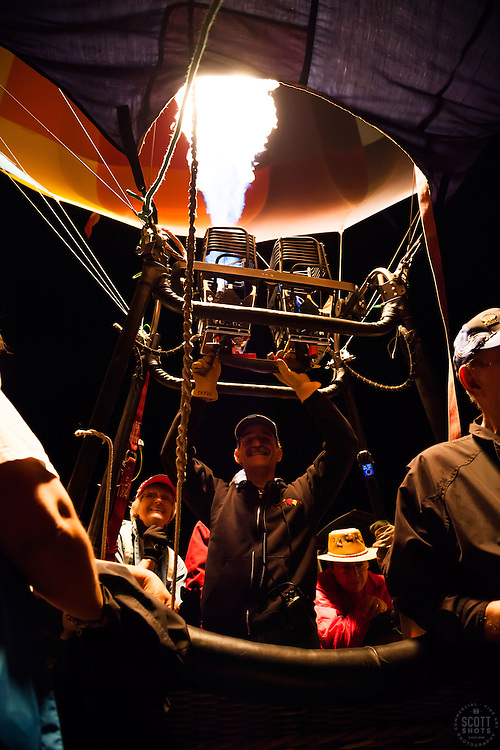 """Balloon Pilot 1"" - Photograph of a Dawn Patrol hot air balloon pilot at the 2012 Great Reno Balloon Race."