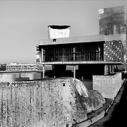Marseille, France, Bocche del Rodano, 1988: View of the Unitè d' Habitation (Terrasse - Citè Radiuse) at Boulevard Michelet (1946)- Le Corbusier arch - Visit Shop Images to purchase and download a digital file and explore other AS images archive. Photographs by Alejandro Sala