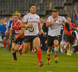 Shaun Venter and Paul Schoeman of the Free State Cheetahs during the Currie Cup Premier division match between the The Free State Cheetahs and the Lions held at Toyota Stadium (Free State Stadium), Bloemfontein, South Africa on the 15th September 2016<br /> <br /> Photo by:   Frikkie Kapp / Real Time Images