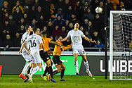 George Friend (3) of Middlesbrough gets his head to the ball to flick it away from danger during the The FA Cup match between Newport County and Middlesbrough at Rodney Parade, Newport, Wales on 5 February 2019.