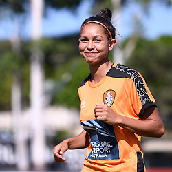 BRISBANE, AUSTRALIA - JANUARY 1: Allira Toby of the Roar warms up during the round 10 Westfield W-League match between the Brisbane Roar and Melbourne Victory at AJ Kelly Park on January 1, 2017 in Brisbane, Australia. (Photo by Patrick Kearney/Brisbane Roar)